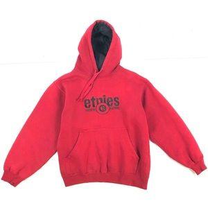 Etnies Red Vtg Hoodie Sweatshirt Spell Out Men's